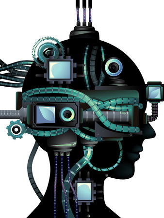 cyberpunk: Cyberpunk Illustration Featuring a Cybernetic Head