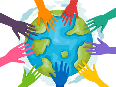 joining forces: Illustration of a Group of Volunteers Joining Forces for Mother Earth Stock Photo