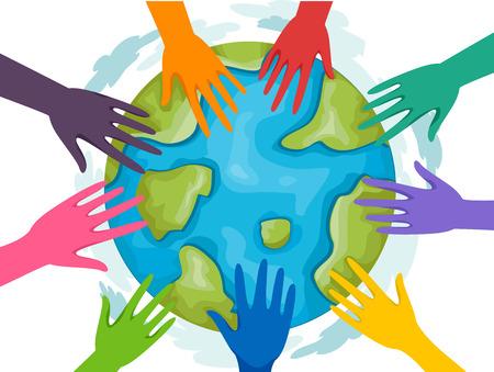 madre tierra: Ilustración de un grupo de voluntarios uniendo fuerzas para la Madre Tierra
