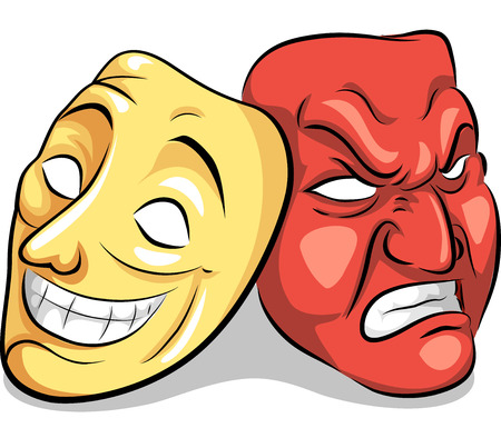 state of mood: Illustration of a Pair of Masks Depicting Bipolar Disorder