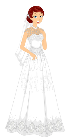 bridal gown: Illustration of a Lovely Bride Wearing a Lacy Bridal Gown