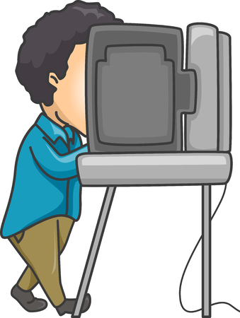 voting rights: Illustration of a Man Using an Automated Machine to Vote
