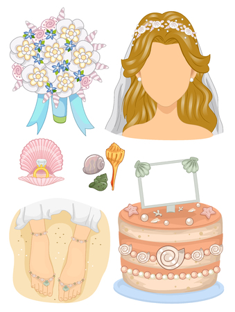 bridal gown: Illustration Featuring Wedding Related Elements
