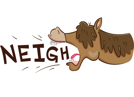 Illustration of a Horse Neighing