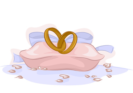 rite: Illustration of a Pair of Wedding Rings Sitting on a Pink Cushion Stock Photo