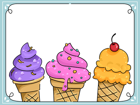 flavors: Frame Illustration Featuring Ice Cream with Different Flavors