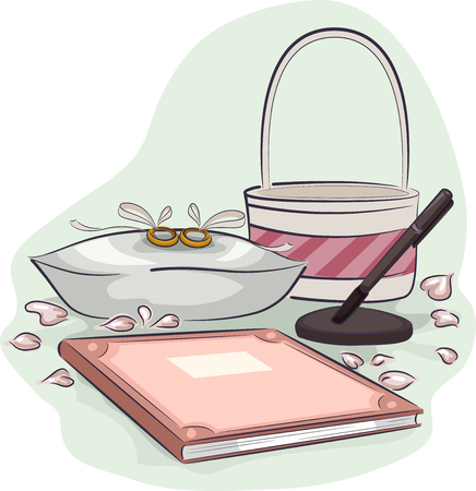 registry: Illustration of a Pair of Rings Sitting Placed Beside a Bridal Registry Book