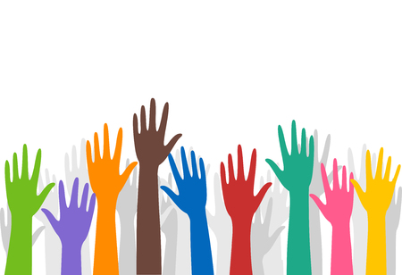 art activity: Illustration of a Group of Volunteers Raising Their Hands Stock Photo
