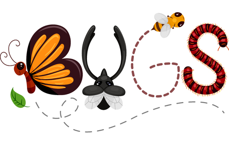 spelling: Typography Illustration Featuring Insects Spelling Out the Word Bugs