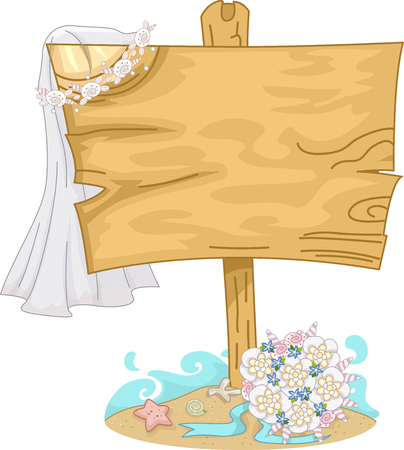 country flowers: Illustration of a Wooden Board