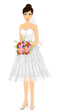 bride dress: Illustration of a Bride Wearing a Short Wedding Dress