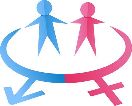 Illustratie van een paar van papier uitsnijdingen Symbolizing mannen en vrouwen Stockfoto