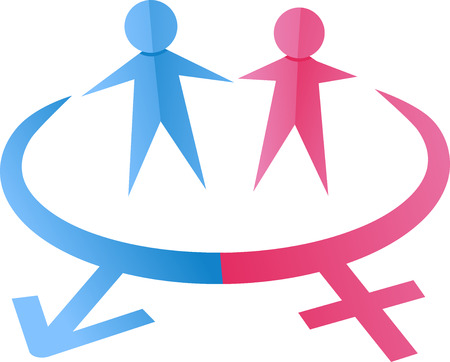 manhood: Illustration of a Pair of Paper Cutouts Symbolizing Males and Females