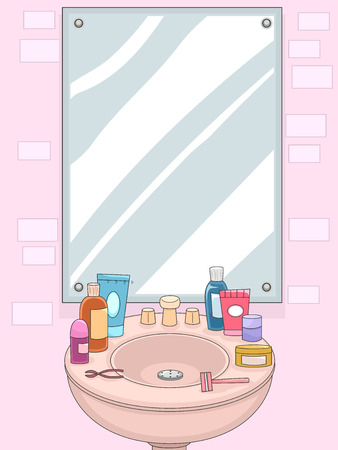 grooming: Illustration of a Mirror with Grooming for Products for Women Displayed on the Shelf