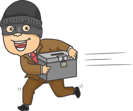 mugging: Illustration of a Mugger Running Away with a Ballot Box