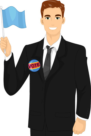 woo: Illustration of a Male Political Candidate Waving a Flag