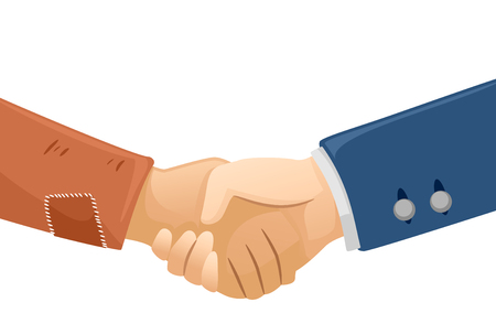 bribery: Illustration of a Rich Man Shaking Hands with a Poor Guy