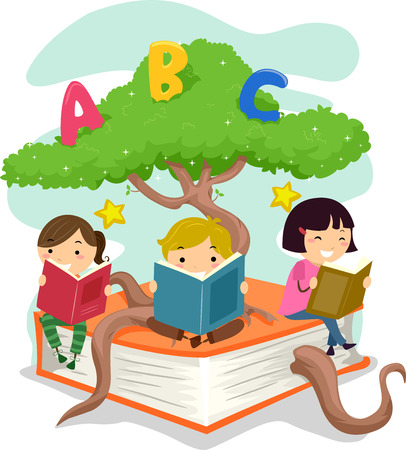 man illustration: Stickman Illustration of Kids Reading Books While Sitting on a Tree Branch
