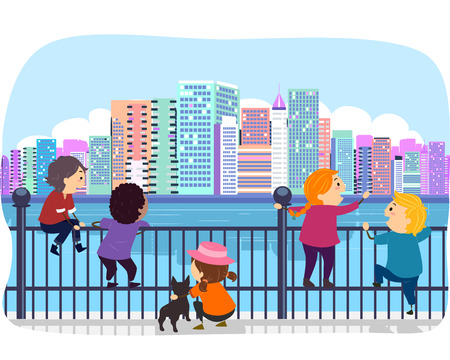 admiring: Stickman Illustration of Kids Admiring the Cityscape from the Fence Stock Photo