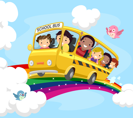 man illustration: Stickman Illustration of Kids on a School Bus Riding Over the Rainbow
