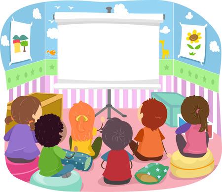 Stickman Illustratie van kinderen zitten in de voorkant van een projector