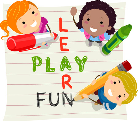 kids fun: Stickman Illustration of Kids Having Fun While Learning Stock Photo