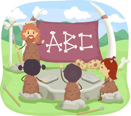 grade school age: Stickman Illustration of a Caveman Teaching the Alphabet to Little Kids