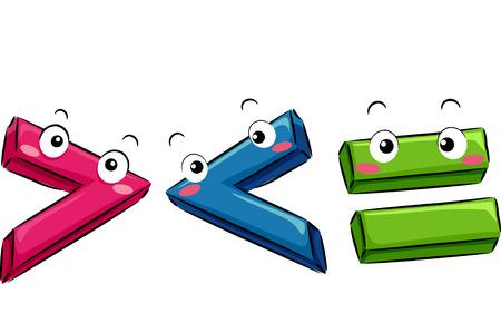 greater: Mascot Illustration Featuring Mathematical Symbols