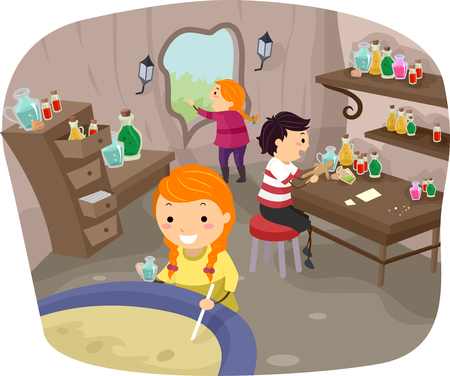alchemist: Stickman Illustration of Kids Experimenting with Potions