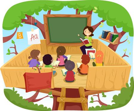 preschool teacher: Stickman Illustration of Kids Having Their Class on a Tree House Stock Photo