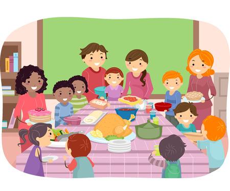 grade schooler: Stickman Illustration of Kids Having a Pot Luck Party