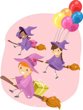 peoples: Stickman Illustration of Young Witches Riding Broomsticks Stock Photo