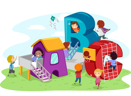 Stickman Illustration of Kids Playing in the Playground