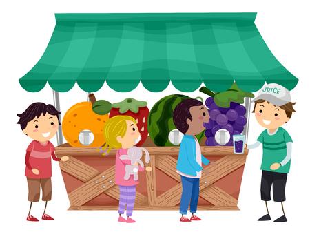 jugo de frutas: Ilustración stickman de los niños Cómo Jugo de fruta