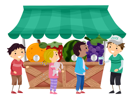 fruit juice: Stickman Illustration of Kids Getting Fruit Juice Stock Photo