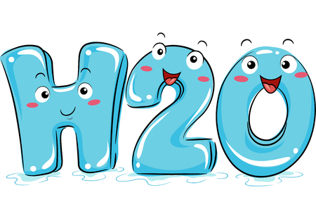 h20: Illustration Featuring Cute Water Mascots Stock Photo