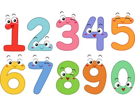 numbers clipart: Mascot Illustration Featuring the Numbers 1 to 0