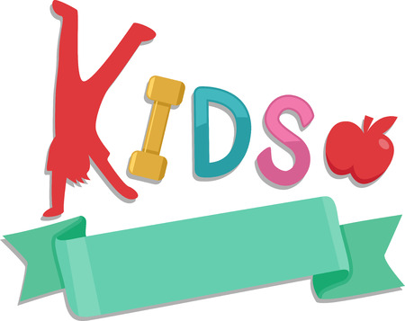 handstand: Illustration of a Ribbon with the Word Kids on Top