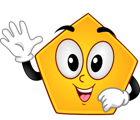 shapes cartoon: Mascot Illustration of a Pentagon Showing Five Fingers