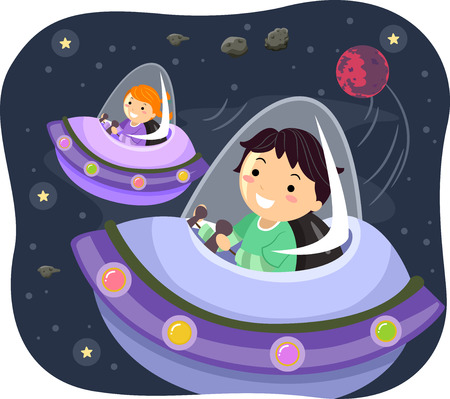 man illustration: Stickman Illustration of Kids Driving Spacecrafts Stock Photo