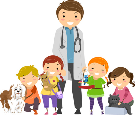 a physician: Stickman Illustration of Kids Crowding a Smiling Veterinarian