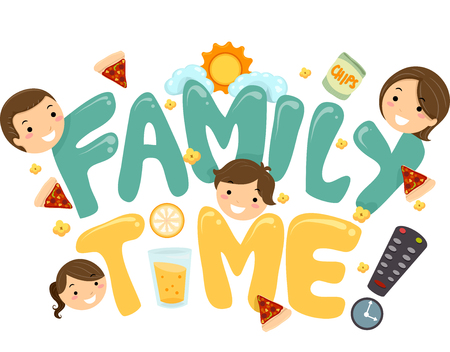 recreation: Illustration of a Family TV Time Lettering