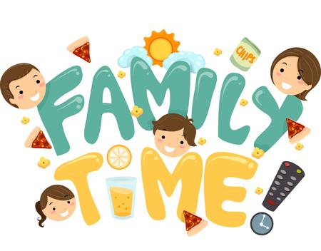 ricreazione: Illustrazione di una famiglia Lettering TV Tempo