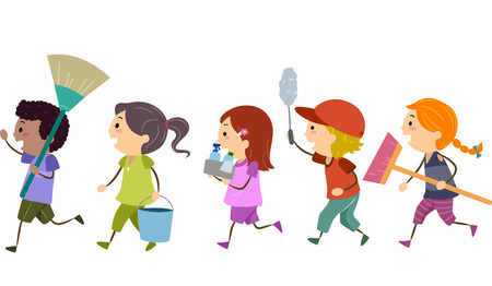 clean up: Stickman Illustration of Kids Carrying Cleaning Tools Stock Photo
