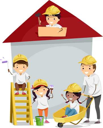 small house: Stickman Illustration of Kids Building a Small House