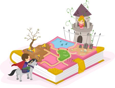 Illustration Stickman d'un jeune prince essayant de sauver une jeune princesse Banque d'images