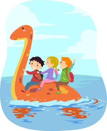 children book: Stickman Illustration of Kids Riding an Orange Dinosaur