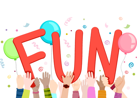 kids fun: Illustration of Kids Waving Cutouts of the Word Fun Stock Photo