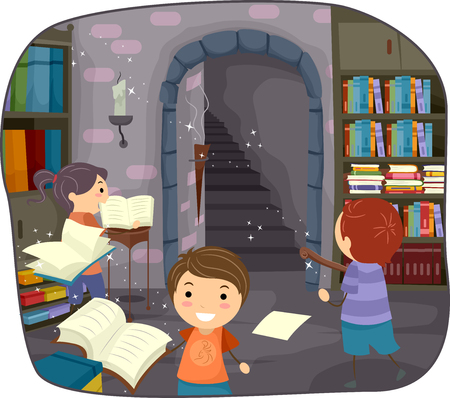 dungeon: Stickman Illustration of Kids Studying Alchemy