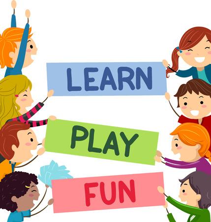 Stickman Illustratie van kinderen spelen met banners Stockfoto